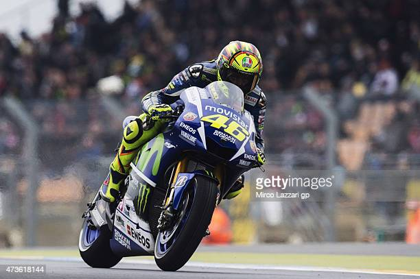 Valentino Rossi of Italy and Movistar Yamaha MotoGP heads down a straight during the qualifying practice during the MotoGp of France Qualifying at on...