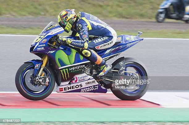 Valentino Rossi of Italy and Movistar Yamaha MotoGP heads down a straight during the MotoGP Netherlands Free Practice at on June 25 2015 in Assen...
