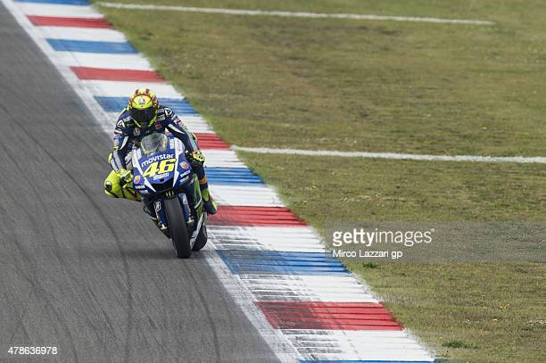 Valentino Rossi of Italy and Movistar Yamaha MotoGP heads down a straight during the MotoGP Netherlands Qualifying at TT Assen Circuit on June 26...