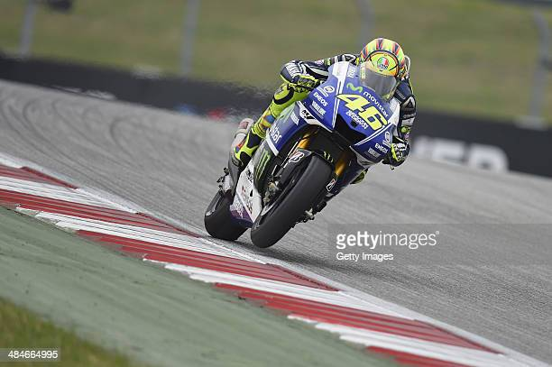 Valentino Rossi of Italy and Movistar Yamaha MotoGP heads down a straight during the MotoGP race during the MotoGp Red Bull US Grand Prix of The...