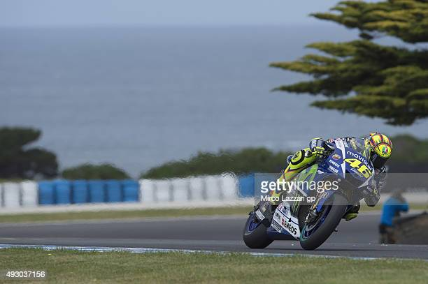 Valentino Rossi of Italy and Movistar Yamaha MotoGP heads down a straight during the qualifying practice during the MotoGP of Australia Qualifying...