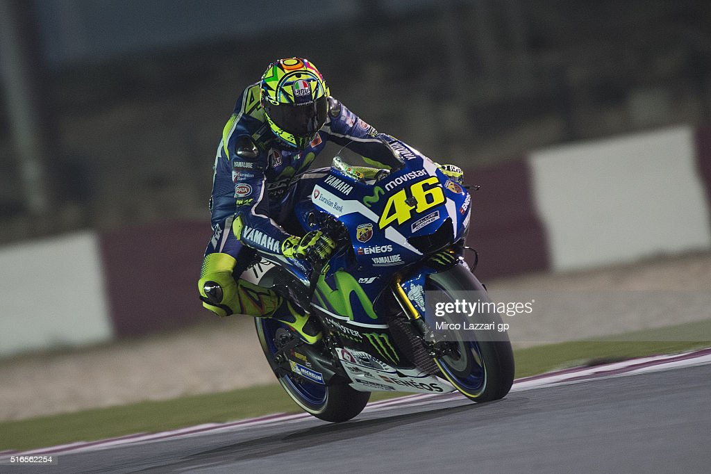 Valentino Rossi of Italy and Movistar Yamaha MotoGP heads down a straight during the qualifying practice during the MotoGp of Qatar - Qualifying at Losail Circuit on March 19, 2016 in Doha, Qatar.