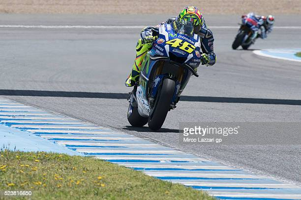 Valentino Rossi of Italy and Movistar Yamaha MotoGP heads down a straight during the MotoGP race during the MotoGp of Spain Race at Circuito de Jerez...