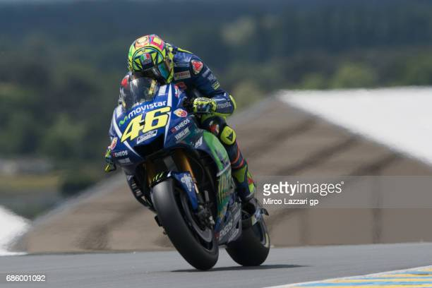 Valentino Rossi of Italy and Movistar Yamaha MotoGP heads down a straight during the MotoGp of France Qualifying on May 20 2017 in Le Mans France