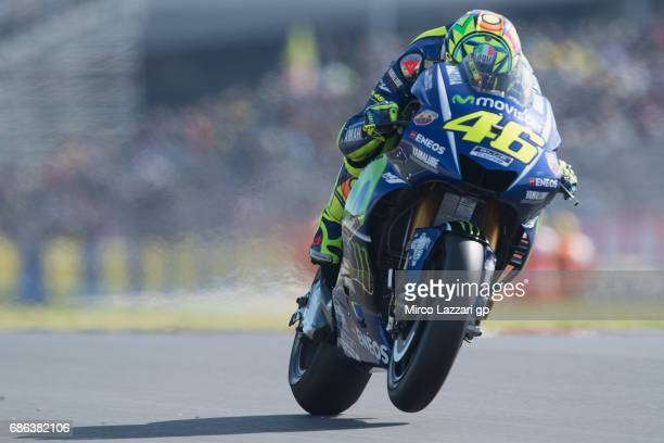Valentino Rossi of Italy and Movistar Yamaha MotoGP heads down a straight during the WU during the MotoGp of France Race on May 21 2017 in Le Mans...