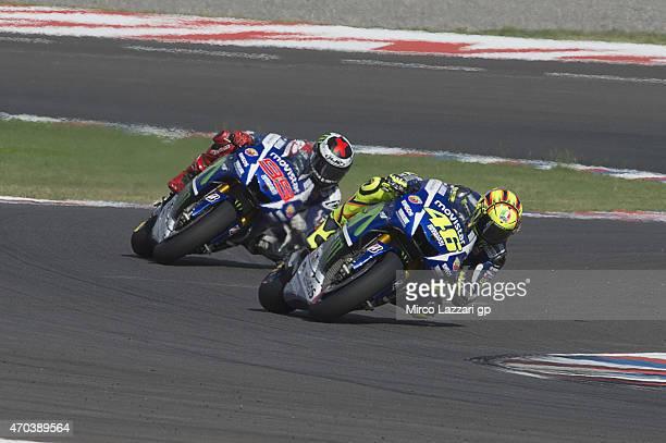 Valentino Rossi of Italy and Movistar Yamaha MotoGP leads Jorge Lorenzo of Spain and Movistar Yamaha MotoGP during the MotoGP race during the MotoGp...