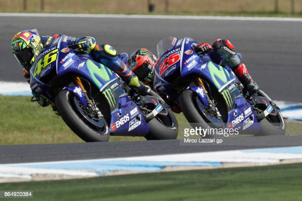 Valentino Rossi of Italy and Movistar Yamaha MotoGP leads Maverick Vinales of Spain and Movistar Yamaha MotoGP during the MotoGP race during the 2017...