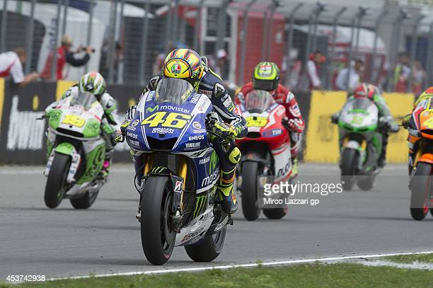 Valentino Rossi of Italy and Movistar Yamaha MotoGP leads the field during the MotoGP race during the MotoGp of Czech Republic Race at Brno Circuit...