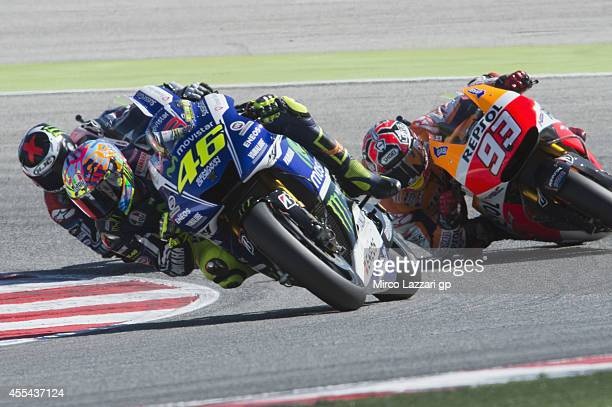 Valentino Rossi of Italy and Movistar Yamaha MotoGP leads the field during the MotoGP race during the MotoGP of San Marino Race at Misano World...
