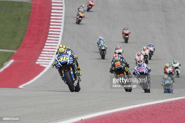 Valentino Rossi of Italy and Movistar Yamaha MotoGP leads the field during the MotoGP race during the MotoGp Red Bull US Grand Prix of The Americas...