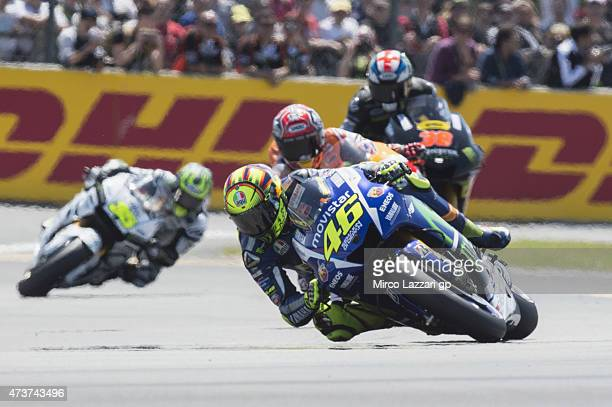 Valentino Rossi of Italy and Movistar Yamaha MotoGP leads the field during the MotoGP race during the MotoGp of France Race at on May 17 2015 in Le...