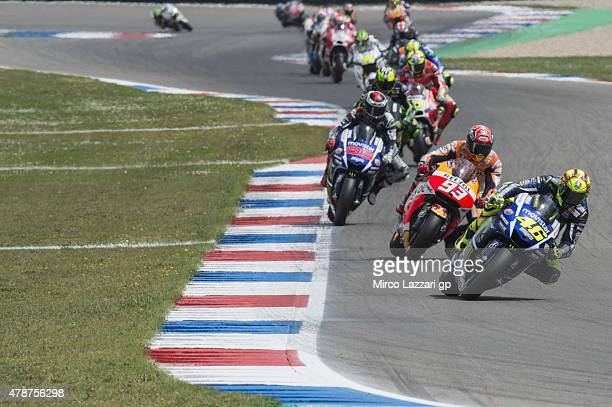 Valentino Rossi of Italy and Movistar Yamaha MotoGP leads the field during the MotoGP race during the MotoGP Netherlands Race at on June 27 2015 in...
