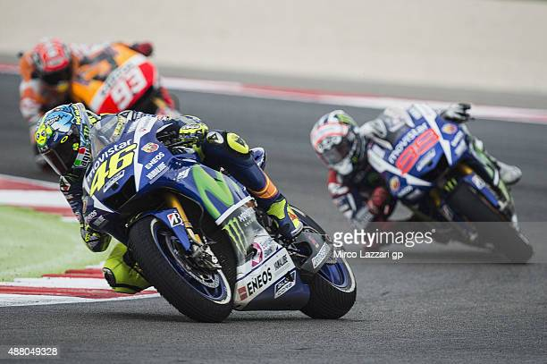 Valentino Rossi of Italy and Movistar Yamaha MotoGP leads the field in the MotoGP World Championship race during the San Marino GP at Misano World...
