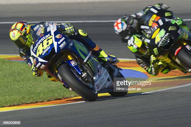 Valentino Rossi of Italy and Movistar Yamaha MotoGP leads the field during the MotoGP race during the MotoGP of Valencia Race at Ricardo Tormo...