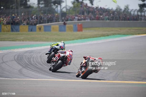 Valentino Rossi of Italy and Movistar Yamaha MotoGP leads the field during the MotoGP race during the MotoGp of France Race at on May 8 2016 in Le...