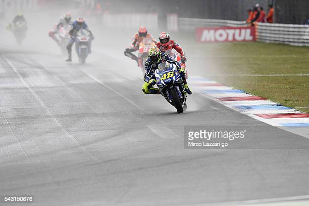 Valentino Rossi of Italy and Movistar Yamaha MotoGP leads the field during the MotoGP race during the MotoGP Netherlands Race at on June 26 2016 in...