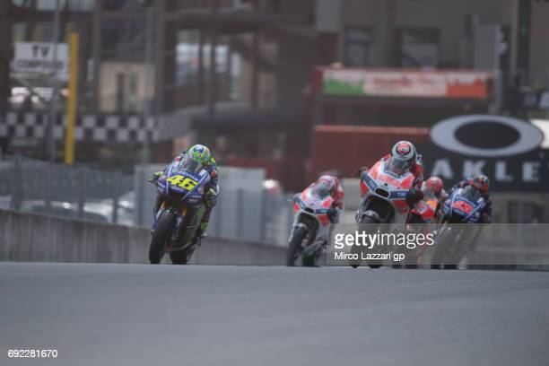 Valentino Rossi of Italy and Movistar Yamaha MotoGP leads the field during the MotoGP race during the MotoGp of Italy Race at Mugello Circuit on June...