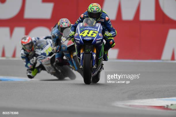 Valentino Rossi of Italy and Movistar Yamaha MotoGP leads the field during the MotoGP Netherlands Qualifying on June 24 2017 in Assen Netherlands