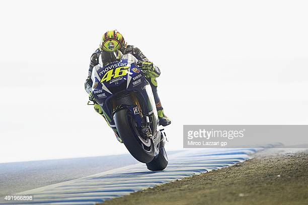 Valentino Rossi of Italy and Movistar Yamaha MotoGP lifts the front wheel during the MotoGP Of Japan Free Practice at Twin Ring Motegi on October 9...