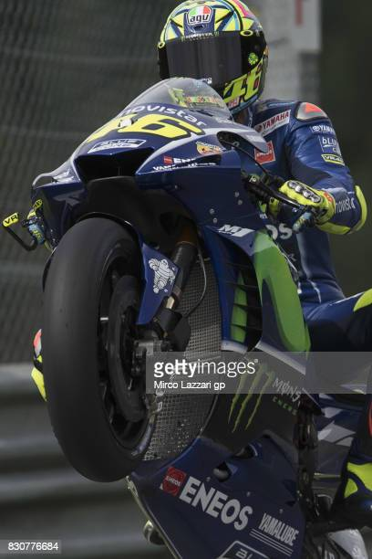 Valentino Rossi of Italy and Movistar Yamaha MotoGP lifts the front wheel during the MotoGp of Austria Qualifying at Red Bull Ring on August 12 2017...