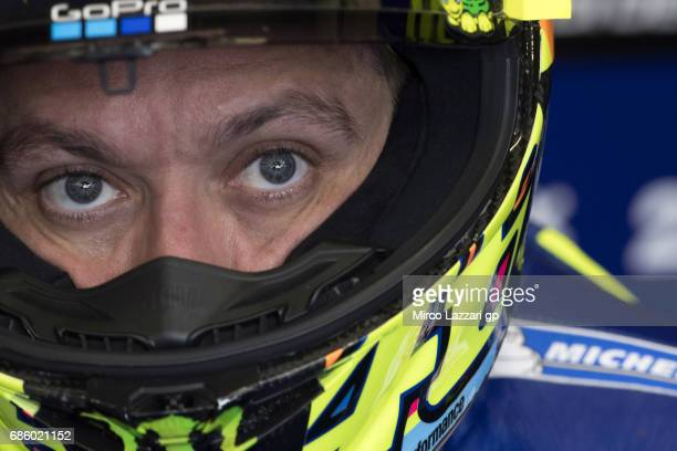 Valentino Rossi of Italy and Movistar Yamaha MotoGP looks on in the pit during the MotoGp of France Qualifying on May 20 2017 in Le Mans France