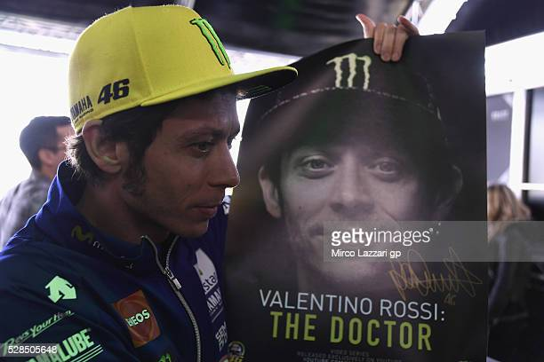Valentino Rossi of Italy and Movistar Yamaha MotoGP poses during the preevent 'Valentino Rossi The Doctor series' during the MotoGp of France Press...