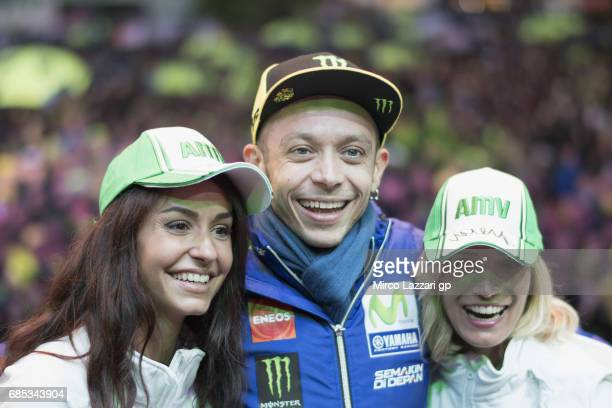 Valentino Rossi of Italy and Movistar Yamaha MotoGP poses with fans during the 'Questions and Answers' during the MotoGp of France Free Practice on...