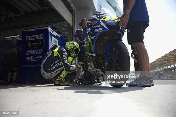 Valentino Rossi of Italy and Movistar Yamaha MotoGP prepares to start from box during the Michelin test tyres during MotoGP Tests in Sepang Day Four...