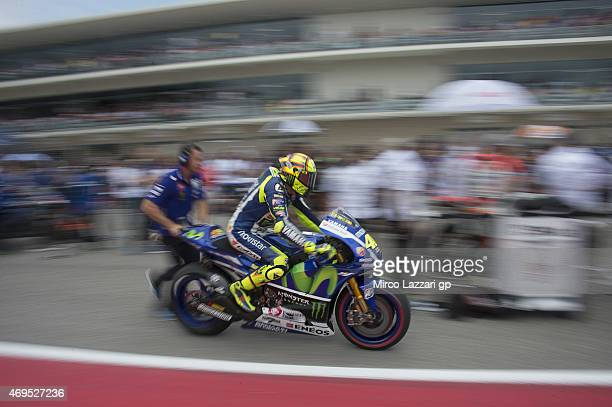 Valentino Rossi of Italy and Movistar Yamaha MotoGP prepares to start on the grid during the MotoGP race during the MotoGp Red Bull US Grand Prix of...
