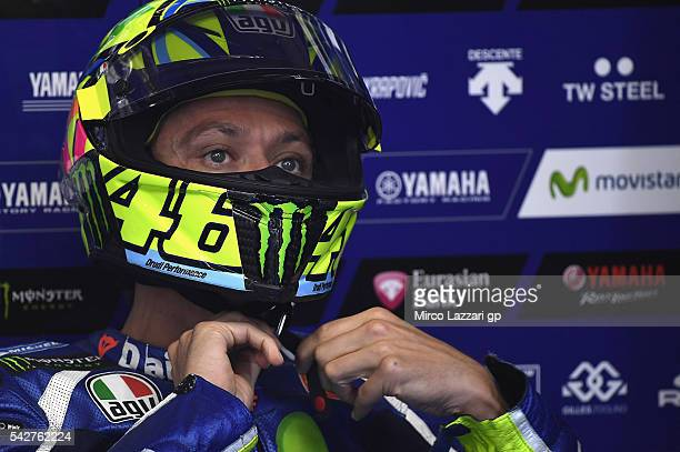 Valentino Rossi of Italy and Movistar Yamaha MotoGP prepares to start in box during the MotoGP Netherlands Free Practice at TT Circuit on June 24...