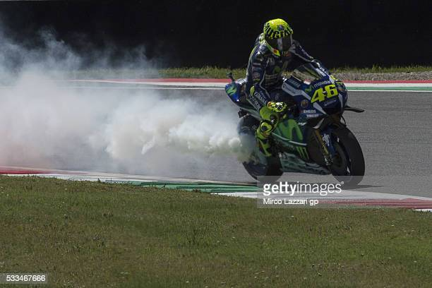 Valentino Rossi of Italy and Movistar Yamaha MotoGP retired during the MotoGP race during MotoGp of Italy Race at Mugello Circuit on May 22 2016 in...