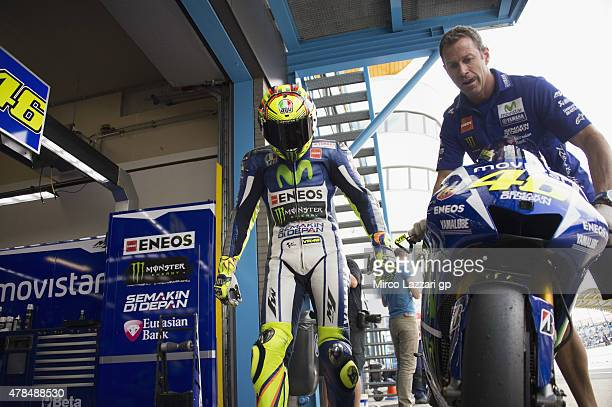 Valentino Rossi of Italy and Movistar Yamaha MotoGP returns in box during the MotoGP Netherlands Free Practice at on June 25 2015 in Assen Netherlands
