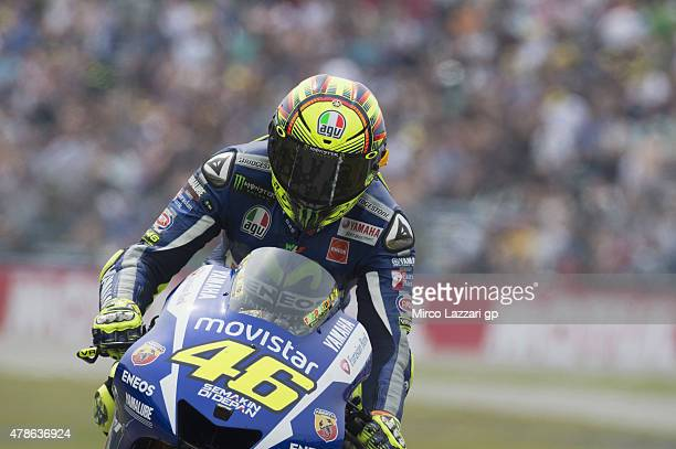 Valentino Rossi of Italy and Movistar Yamaha MotoGP returns in box during the qualifyng practice during the MotoGP Netherlands Qualifying at TT Assen...