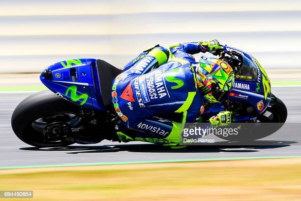 Valentino Rossi of Italy and Movistar Yamaha MotoGP rides during a free practice session ahead of the qualifying at Circuit de Catalunya on June 10...