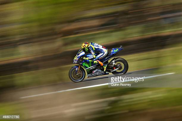 Valentino Rossi of Italy and Movistar Yamaha MotoGP rides during qualifying for the 2015 MotoGP of Australia at Phillip Island Grand Prix Circuit on...