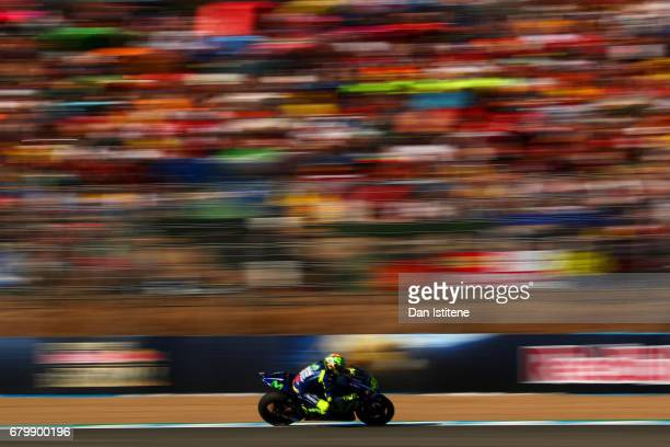Valentino Rossi of Italy and Movistar Yamaha MotoGP rides during warmup for the MotoGP of Spain at Circuito de Jerez on May 7 2017 in Jerez de la...