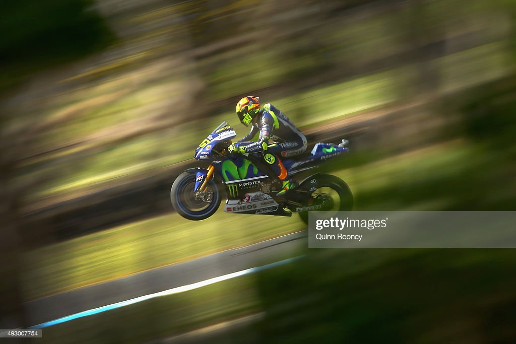 <a gi-track='captionPersonalityLinkClicked' href=/galleries/search?phrase=Valentino+Rossi&family=editorial&specificpeople=157603 ng-click='$event.stopPropagation()'>Valentino Rossi</a> of Italy and Movistar Yamaha MotoGP rides during free practice for the 2015 MotoGP of Australia at Phillip Island Grand Prix Circuit on October 17, 2015 in Phillip Island, Australia.