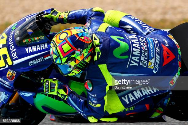 Valentino Rossi of Italy and Movistar Yamaha MotoGP rides during free practice for the MotoGP of Spain at Circuito de Jerez on May 5 2017 in Jerez de...