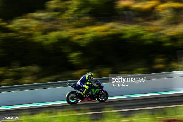 Valentino Rossi of Italy and Movistar Yamaha MotoGP rides during final practice for the MotoGP of Spain at Circuito de Jerez on May 6 2017 in Jerez...