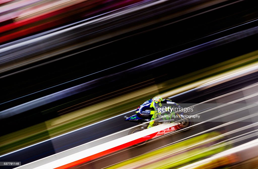 Valentino Rossi of Italy and Movistar Yamaha MotoGP rides his bike during practice for the MotoGP of Catalunya at Circuit de Barcelona on June 03...