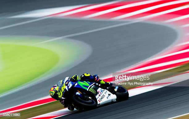 Valentino Rossi of Italy and Movistar Yamaha MotoGP rides his bike during qualifying for the MotoGP of Catalunya at Circuit de Barcelona on June 04...