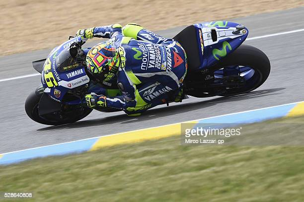 Valentino Rossi of Italy and Movistar Yamaha MotoGP round sthe bend during the MotoGp of France Free Practice at on May 6 2016 in Le Mans France
