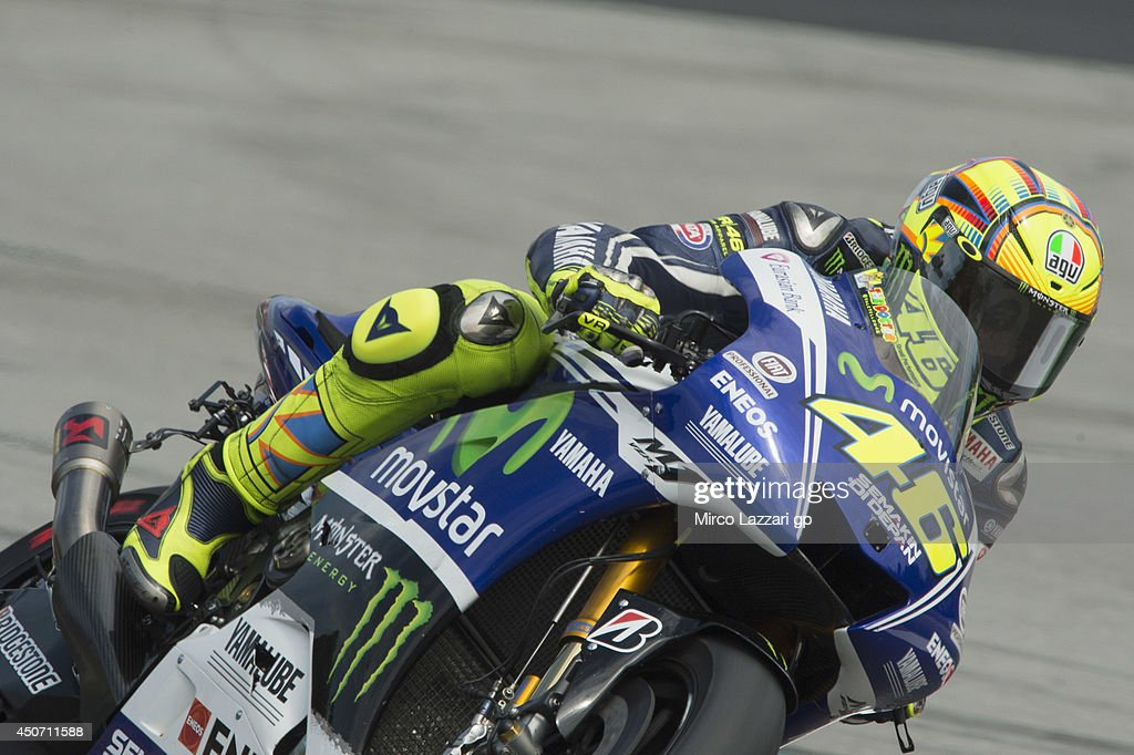 Valentino Rossi of Italy and Movistar Yamaha MotoGP rounds the bend during the MotoGp Tests In Montmelo at Circuit de Catalunya on June 16, 2014 in Montmelo, Spain.