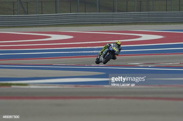 Valentino Rossi of Italy and Movistar Yamaha MotoGP rounds the bend during the MotoGp Red Bull US Grand Prix of The Americas Qualifying at Circuit of...