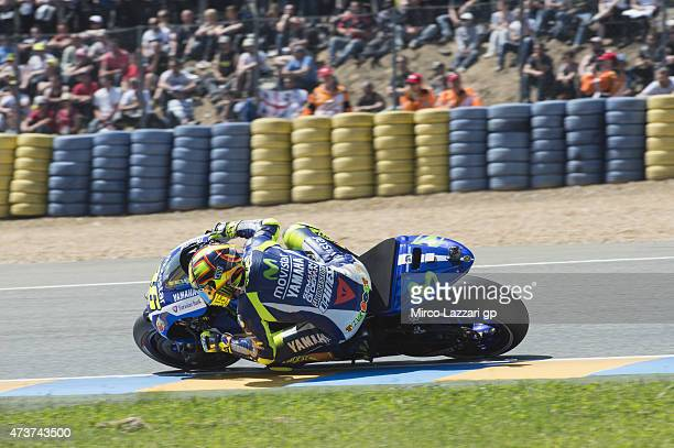 Valentino Rossi of Italy and Movistar Yamaha MotoGP rounds the bend during the MotoGP race during the MotoGp of France Race at on May 17 2015 in Le...