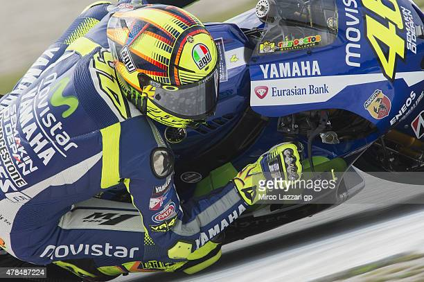 Valentino Rossi of Italy and Movistar Yamaha MotoGP rounds the bend during the MotoGP Netherlands Free Practice at on June 25 2015 in Assen...