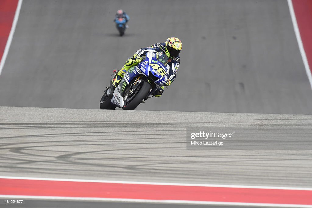 <a gi-track='captionPersonalityLinkClicked' href=/galleries/search?phrase=Valentino+Rossi&family=editorial&specificpeople=157603 ng-click='$event.stopPropagation()'>Valentino Rossi</a> of Italy and Movistar Yamaha MotoGP rounds the bend during the MotoGp Red Bull U.S. Grand Prix of The Americas - Free Practice at Circuit of The Americas on April 11, 2014 in Austin, Texas.