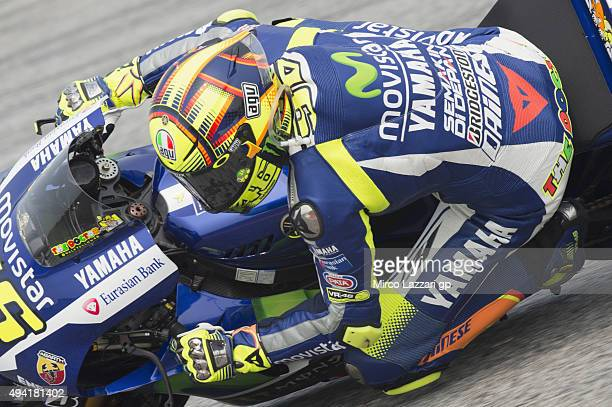 Valentino Rossi of Italy and Movistar Yamaha MotoGP rounds the bend during the MotoGP race during the MotoGP Of Malaysia at Sepang Circuit on October...