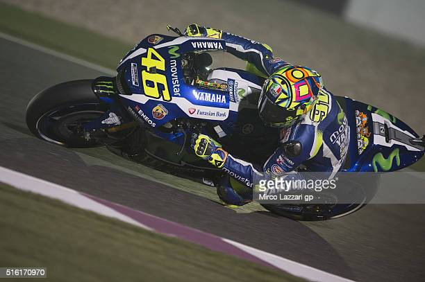 Valentino Rossi of Italy and Movistar Yamaha MotoGP rounds the bend during the MotoGp of Qatar Free Practice at Losail Circuit on March 17 2016 in...