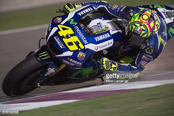 Valentino Rossi of Italy and Movistar Yamaha MotoGP rounds the bend during the MotoGP race during the MotoGp of Qatar Race at Losail Circuit on March...
